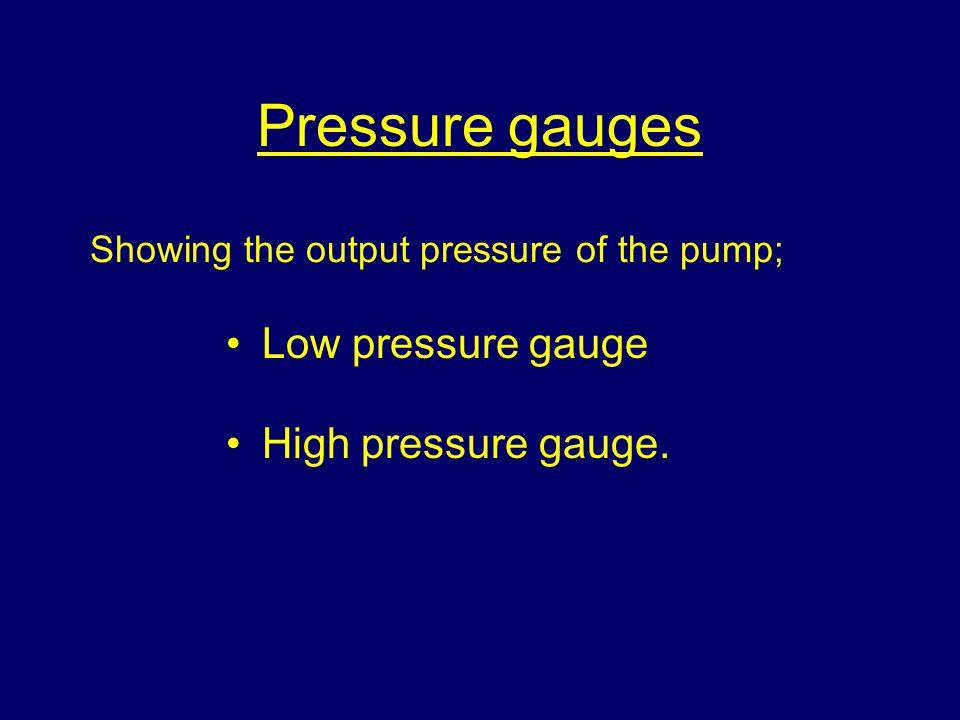 Pressure gauges Low pressure gauge High pressure gauge. Showing the output pressure of the pump;