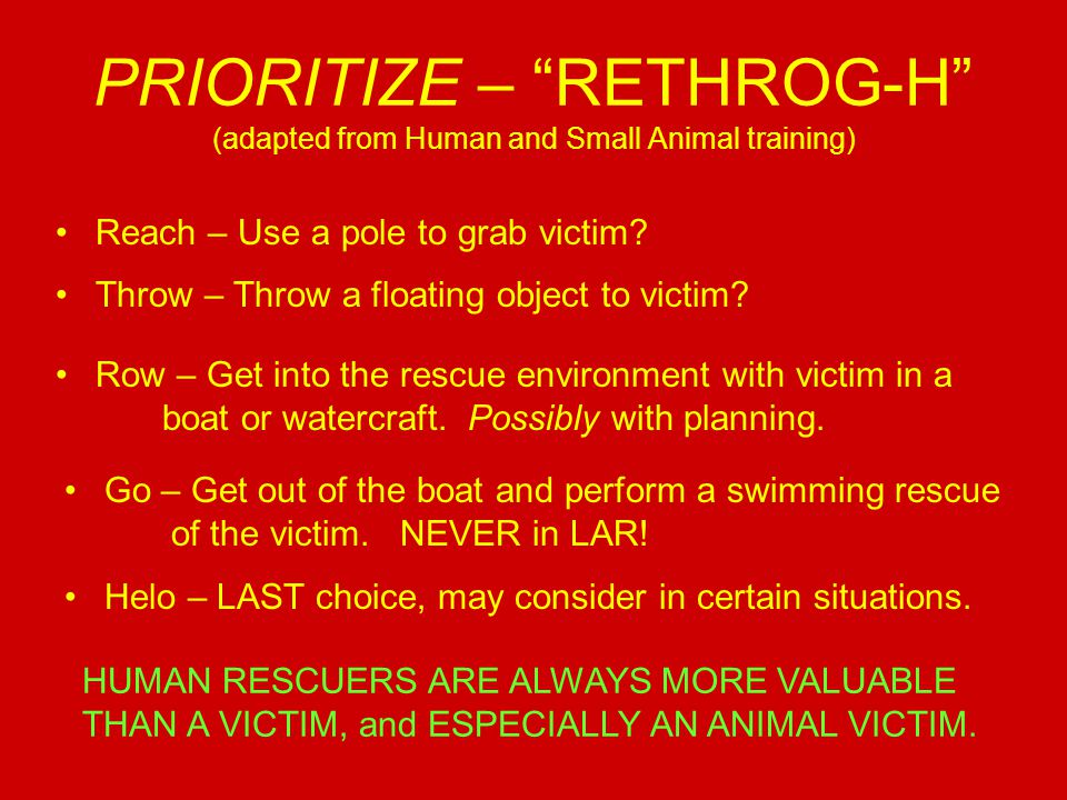 PRIORITIZE – RETHROG-H (adapted from Human and Small Animal training) Reach – Use a pole to grab victim.