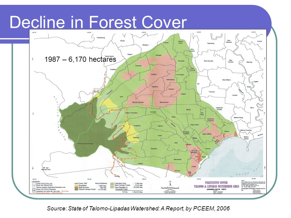 Decline in Forest Cover 1987 – 6,170 hectares Source: State of Talomo-Lipadas Watershed: A Report, by PCEEM, 2006