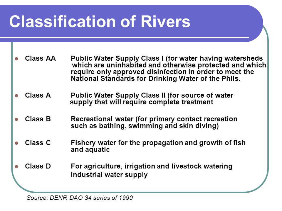 Classification of Rivers Class AAPublic Water Supply Class I (for water having watersheds which are uninhabited and otherwise protected and which requ