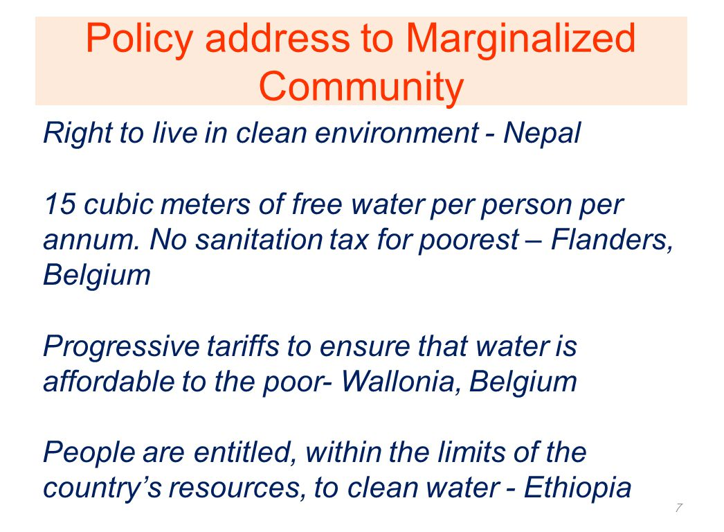 Marginalized Community- Watsan realities Directly affected by unsafe water and sanitation is the marginalized community in both rural and urban areas.