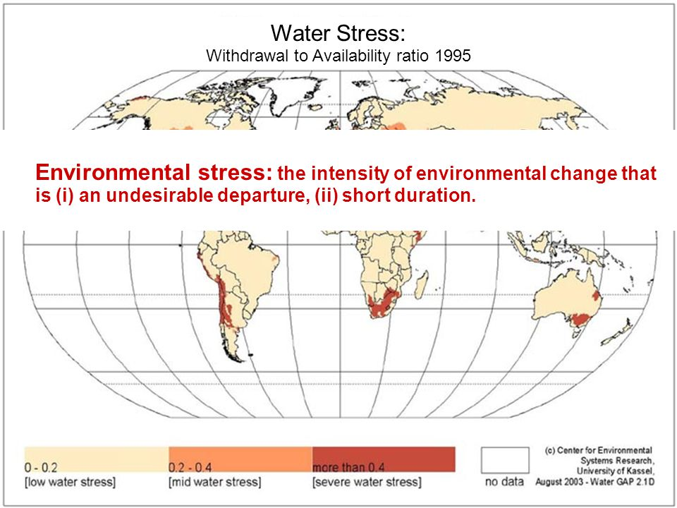 Joseph Alcamo Center for Environmental Systems Research, KasselSlide 18 Security Diagrams Water Stress: Withdrawal to Availability ratio 1995 Environmental stress: the intensity of environmental change that is (i) an undesirable departure, (ii) short duration.