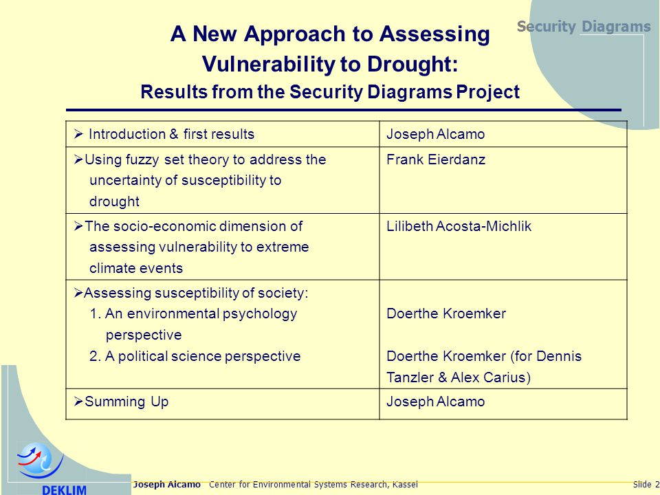 Joseph Alcamo Center for Environmental Systems Research, KasselSlide 2 Security Diagrams A New Approach to Assessing Vulnerability to Drought: Results from the Security Diagrams Project Introduction & first resultsJoseph Alcamo Using fuzzy set theory to address the uncertainty of susceptibility to drought Frank Eierdanz The socio-economic dimension of assessing vulnerability to extreme climate events Lilibeth Acosta-Michlik Assessing susceptibility of society: 1.