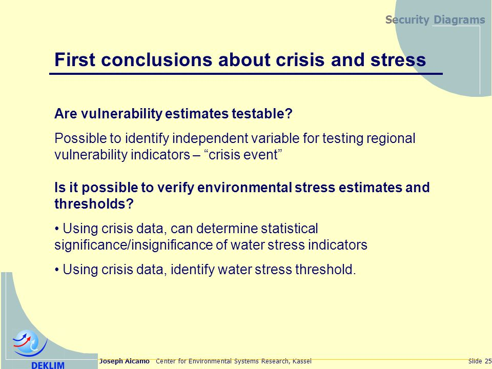Joseph Alcamo Center for Environmental Systems Research, KasselSlide 25 Security Diagrams First conclusions about crisis and stress Are vulnerability estimates testable.