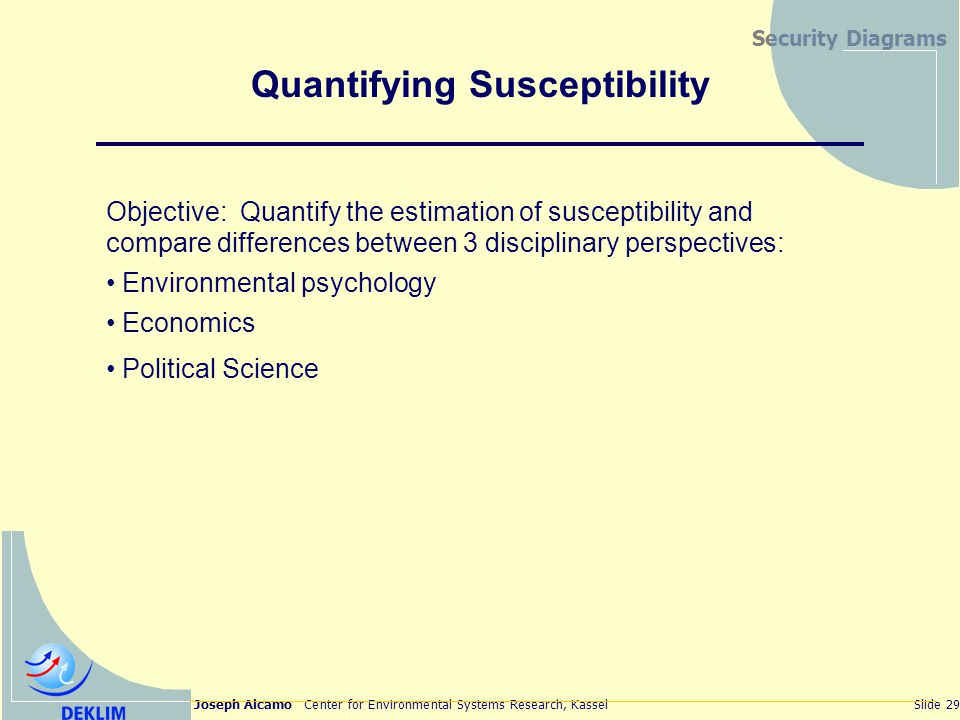 Joseph Alcamo Center for Environmental Systems Research, KasselSlide 29 Security Diagrams Quantifying Susceptibility Objective: Quantify the estimation of susceptibility and compare differences between 3 disciplinary perspectives: Environmental psychology Economics Political Science