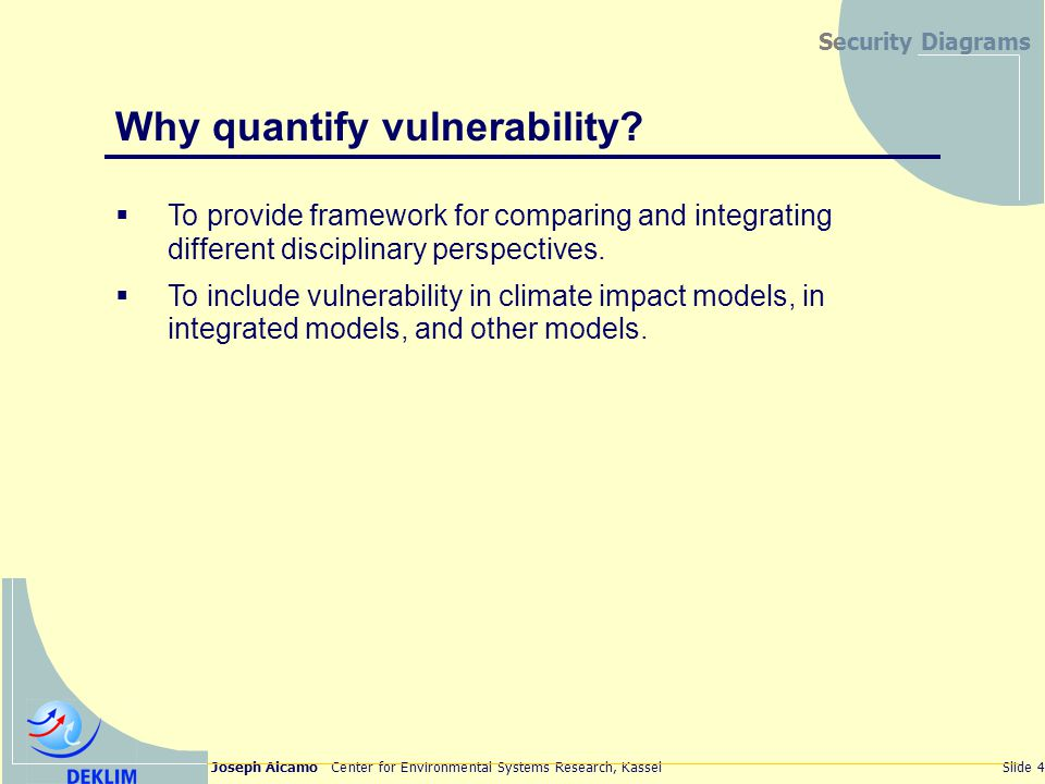 Joseph Alcamo Center for Environmental Systems Research, KasselSlide 4 Security Diagrams Why quantify vulnerability.