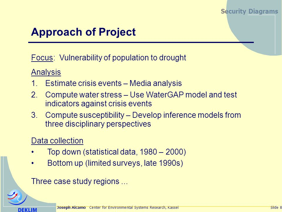 Joseph Alcamo Center for Environmental Systems Research, KasselSlide 8 Security Diagrams Approach of Project Focus: Vulnerability of population to drought Analysis 1.Estimate crisis events – Media analysis 2.Compute water stress – Use WaterGAP model and test indicators against crisis events 3.Compute susceptibility – Develop inference models from three disciplinary perspectives Data collection Top down (statistical data, 1980 – 2000) Bottom up (limited surveys, late 1990s) Three case study regions...