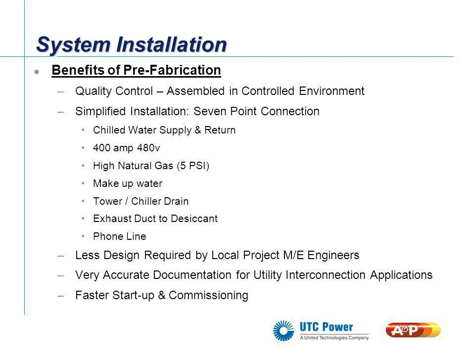System Installation Benefits of Pre-Fabrication –Quality Control – Assembled in Controlled Environment –Simplified Installation: Seven Point Connectio