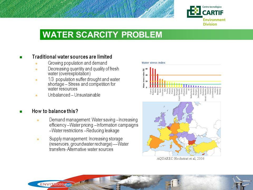 2 WATER SCARCITY PROBLEM Traditional water sources are limited Growing population and demand Decreasing quantity and quality of fresh water (overexploitation) 1/3 population suffer drought and water shortage – Stress and competition for water resources Unbalanced – Unsustainable AQUAREC/Hochstrat et al, 2006 How to balance this.