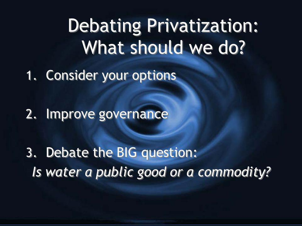 Debating Privatization: What should we do. 1. Consider your options 2.