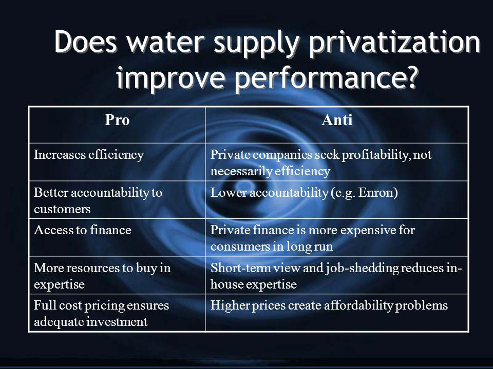 Does privatization lead to water conservation.Leakage of treated water is not a problem cost-wise.