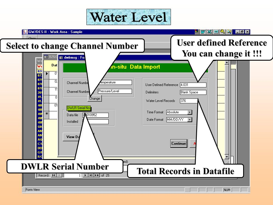 Water Level Select datafile to import Select to view datafile Select to view imported data Select DWLR type