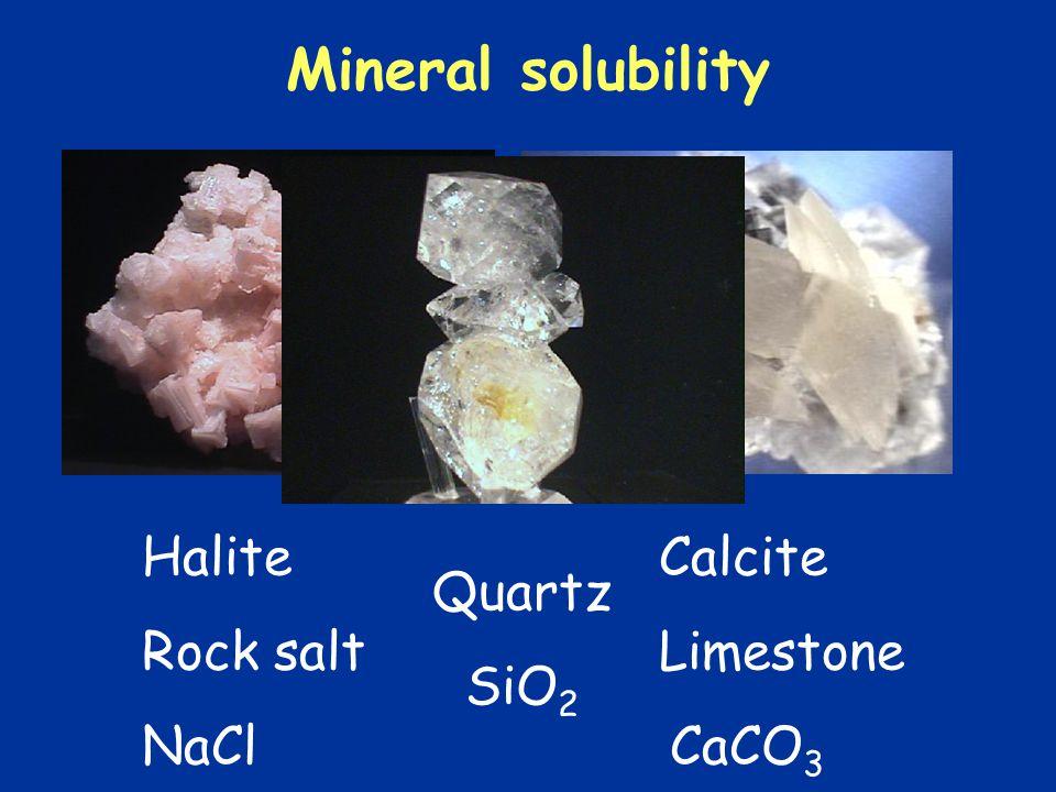 Mineral solubility Halite Calcite Rock salt Limestone NaClCaCO 3 Quartz SiO 2