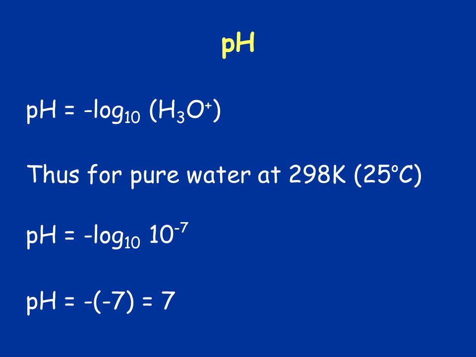 pH pH = -log 10 (H 3 O + ) pH = -log 10 10 -7 Thus for pure water at 298K (25 o C) pH = -(-7) = 7
