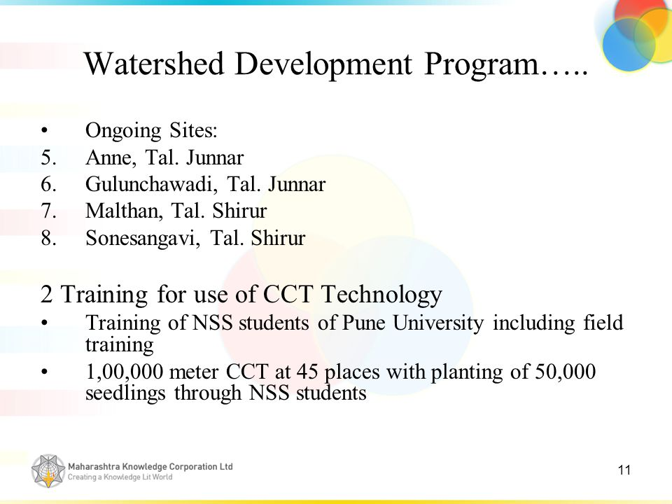 11 Watershed Development Program….. Ongoing Sites: 5.Anne, Tal.