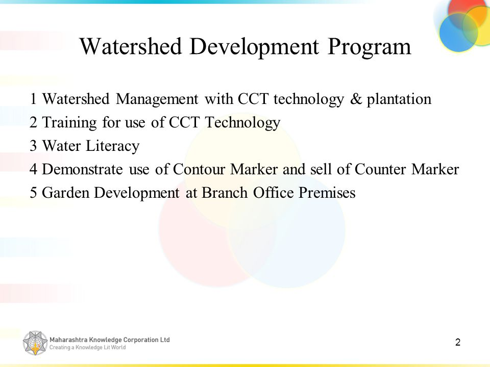 2 1 Watershed Management with CCT technology & plantation 2 Training for use of CCT Technology 3 Water Literacy 4 Demonstrate use of Contour Marker and sell of Counter Marker 5 Garden Development at Branch Office Premises
