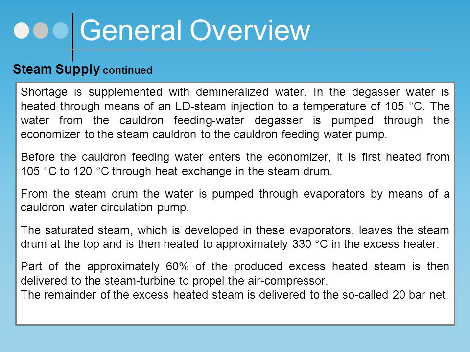 General Overview Steam Supply continued Shortage is supplemented with demineralized water.
