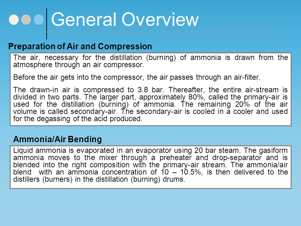 General Overview Preparation of Air and Compression The air, necessary for the distillation (burning) of ammonia is drawn from the atmosphere through an air compressor.