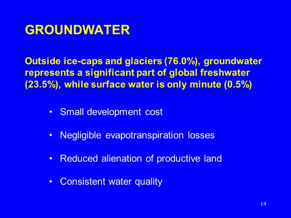 14 GROUNDWATER Outside ice-caps and glaciers (76.0%), groundwater represents a significant part of global freshwater (23.5%), while surface water is only minute (0.5%) Small development cost Negligible evapotranspiration losses Reduced alienation of productive land Consistent water quality