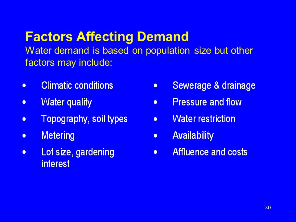 20 Factors Affecting Demand Water demand is based on population size but other factors may include: