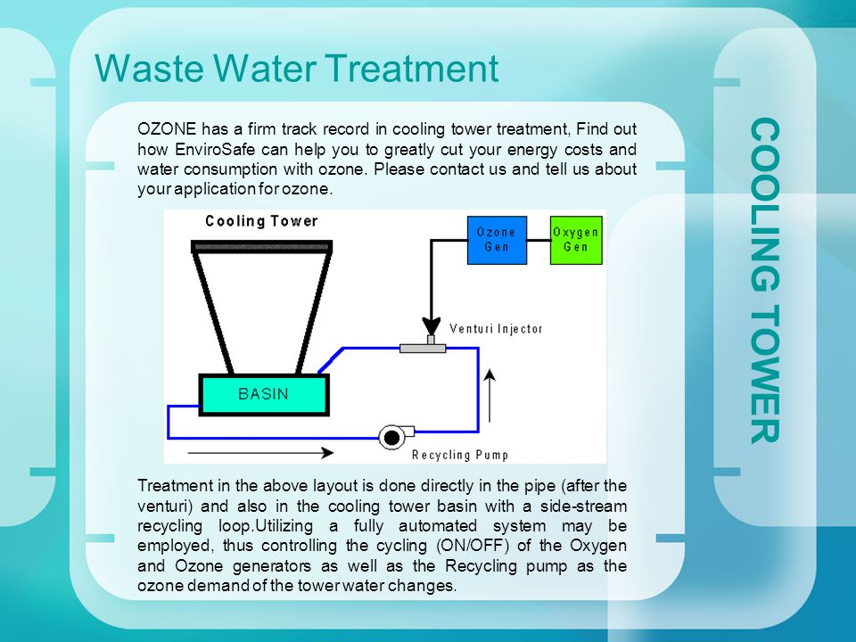 Waste Water Treatment COOLING TOWER OZONE has a firm track record in cooling tower treatment, Find out how EnviroSafe can help you to greatly cut your energy costs and water consumption with ozone.