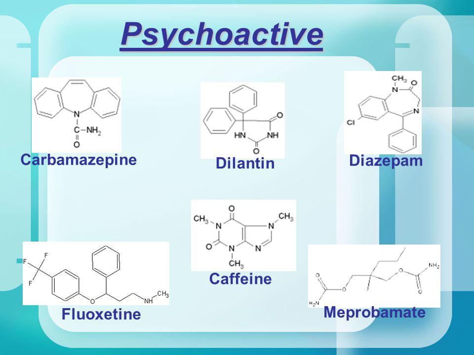 Psychoactive Carbamazepine Diazepam Fluoxetine Caffeine Meprobamate Dilantin