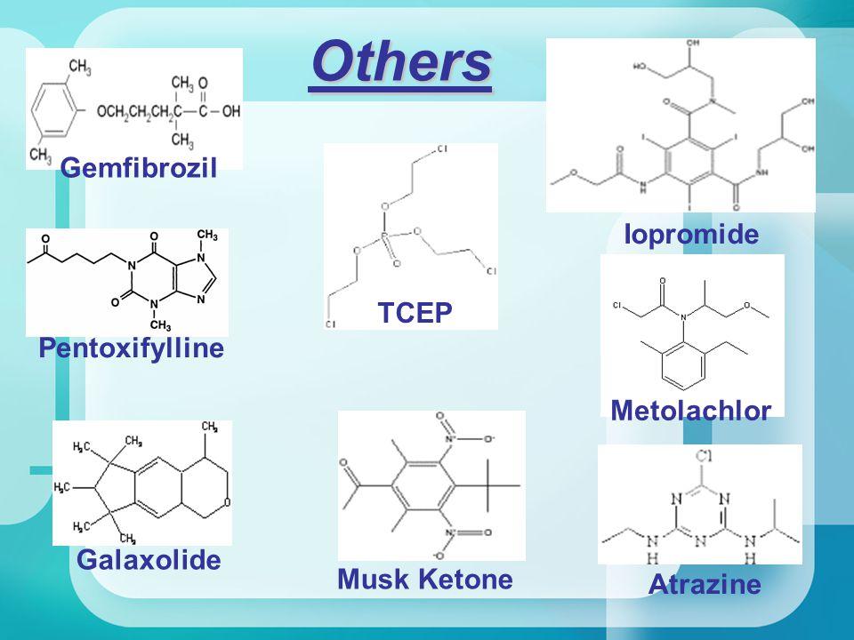 Others Gemfibrozil Pentoxifylline Iopromide Metolachlor Galaxolide TCEP Musk Ketone Atrazine