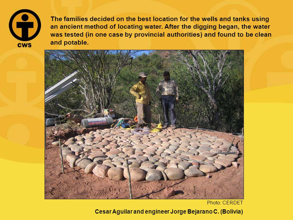 The families decided on the best location for the wells and tanks using an ancient method of locating water.
