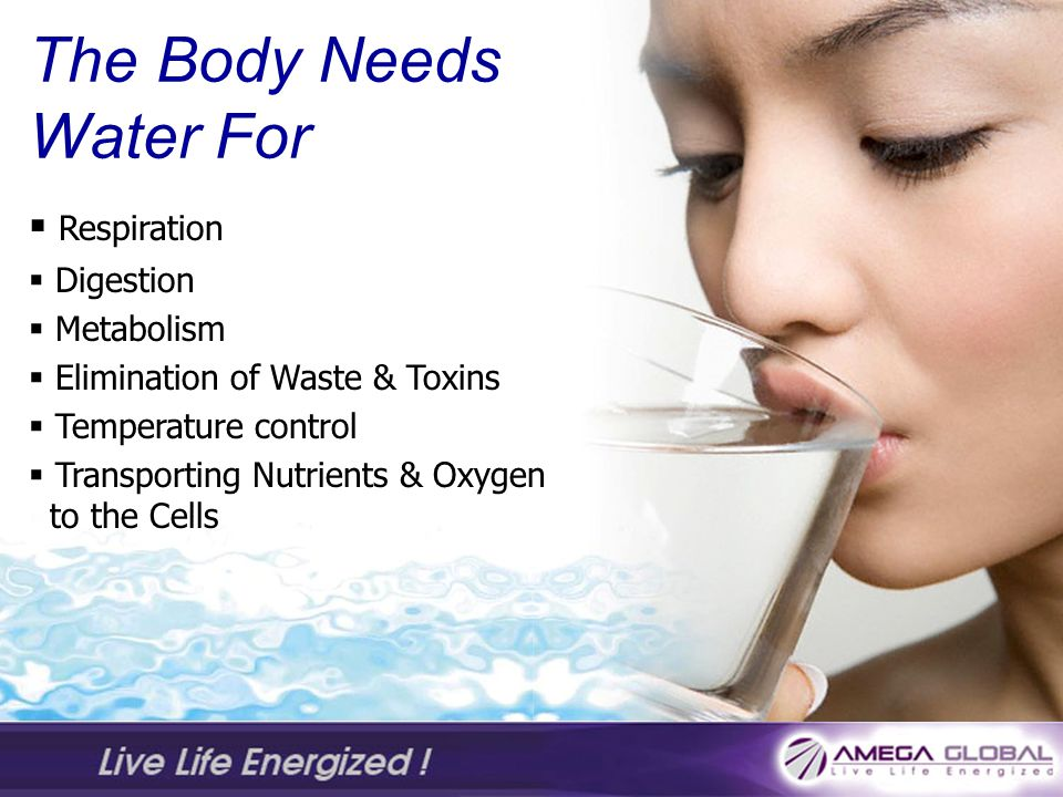 The Body Needs Water For Respiration Digestion Metabolism Elimination of Waste & Toxins Temperature control Transporting Nutrients & Oxygen to the Cells