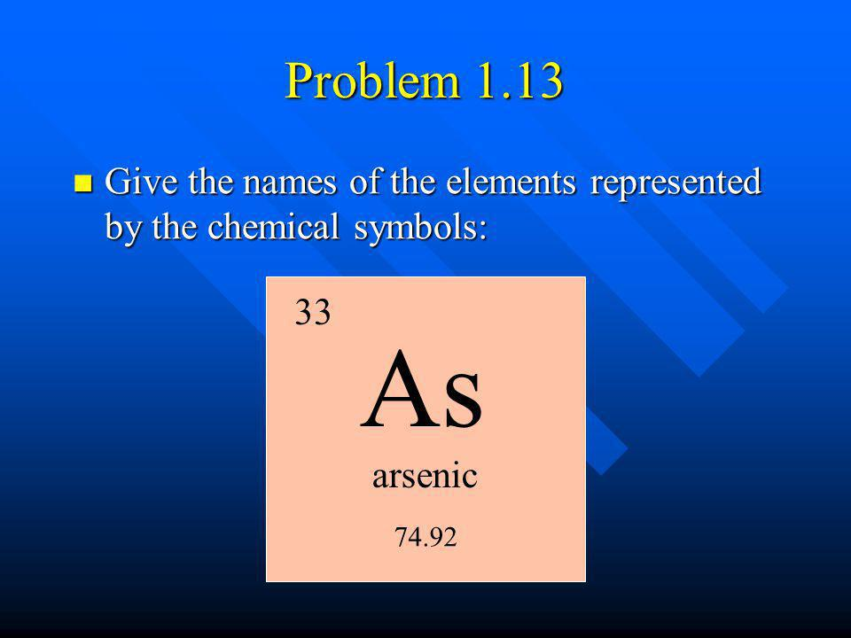 arsenic 33 74.92 Problem 1.13 Give the names of the elements represented by the chemical symbols: Give the names of the elements represented by the ch