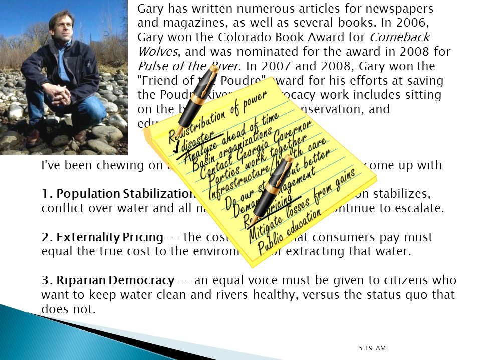Gary has written numerous articles for newspapers and magazines, as well as several books.
