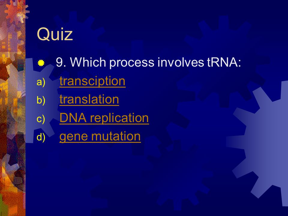 Quiz 9. Which process involves tRNA: a) transciptiontransciption b) translationtranslation c) DNA replicationDNA replication d) gene mutationgene muta