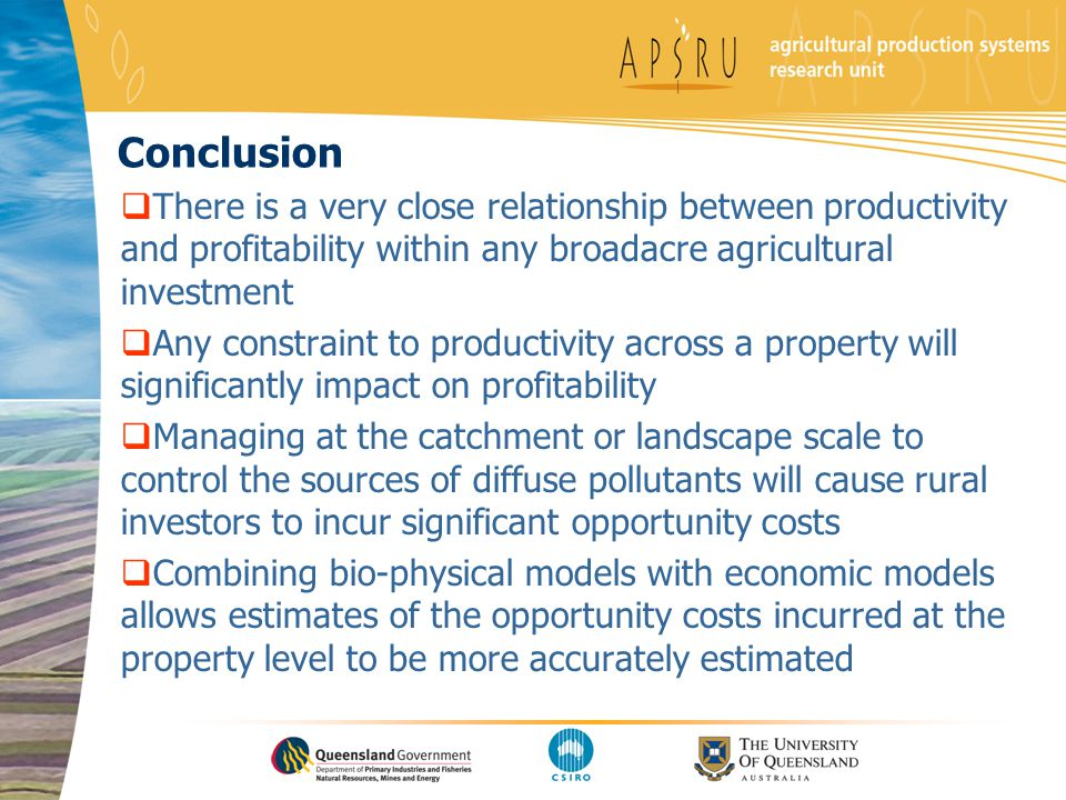 Conclusion There is a very close relationship between productivity and profitability within any broadacre agricultural investment Any constraint to pr