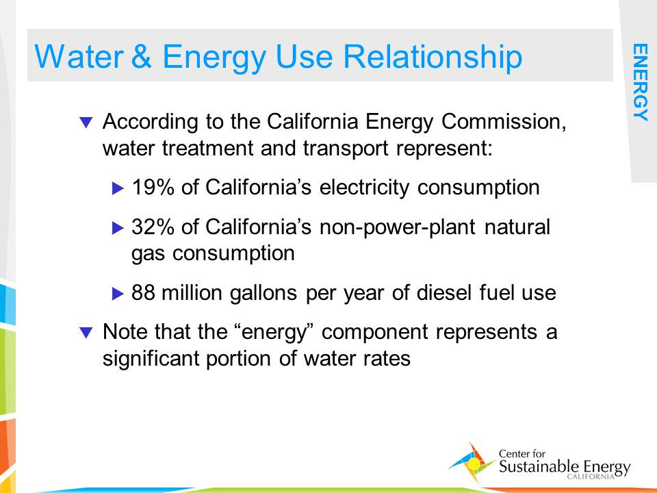 12 Water & Energy Use Relationship ENERGY According to the California Energy Commission, water treatment and transport represent: 19% of Californias e