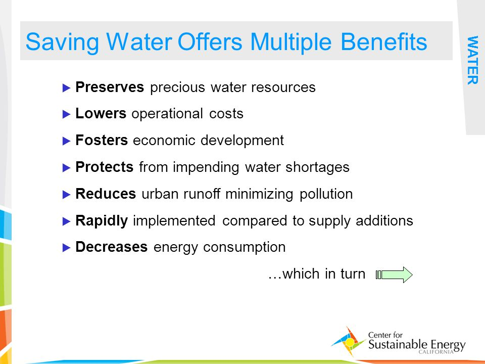 23 Saving Water Offers Multiple Benefits WATER Preserves precious water resources Lowers operational costs Fosters economic development Protects from