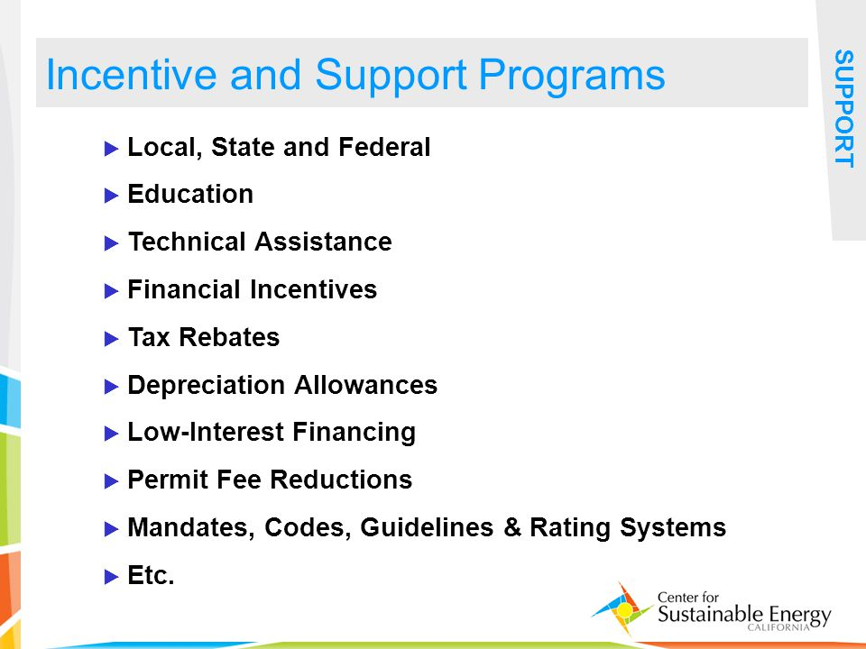 34 Local, State and Federal Education Technical Assistance Financial Incentives Tax Rebates Depreciation Allowances Low-Interest Financing Permit Fee Reductions Mandates, Codes, Guidelines & Rating Systems Etc.