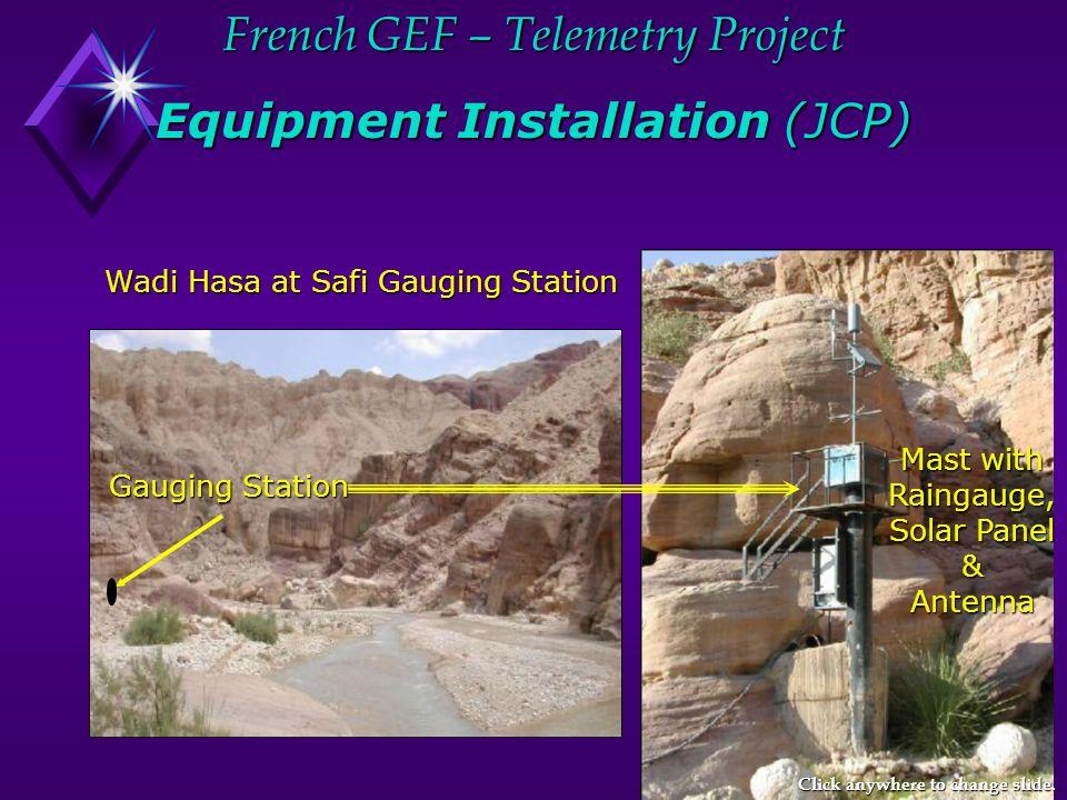 French GEF – Telemetry Project Equipment Installation (JCP) Mast with Raingauge, Solar Panel &Antenna Wadi Hasa at Safi Gauging Station Wadi Hasa at Safi Gauging Station Gauging Station Click anywhere to change slide.