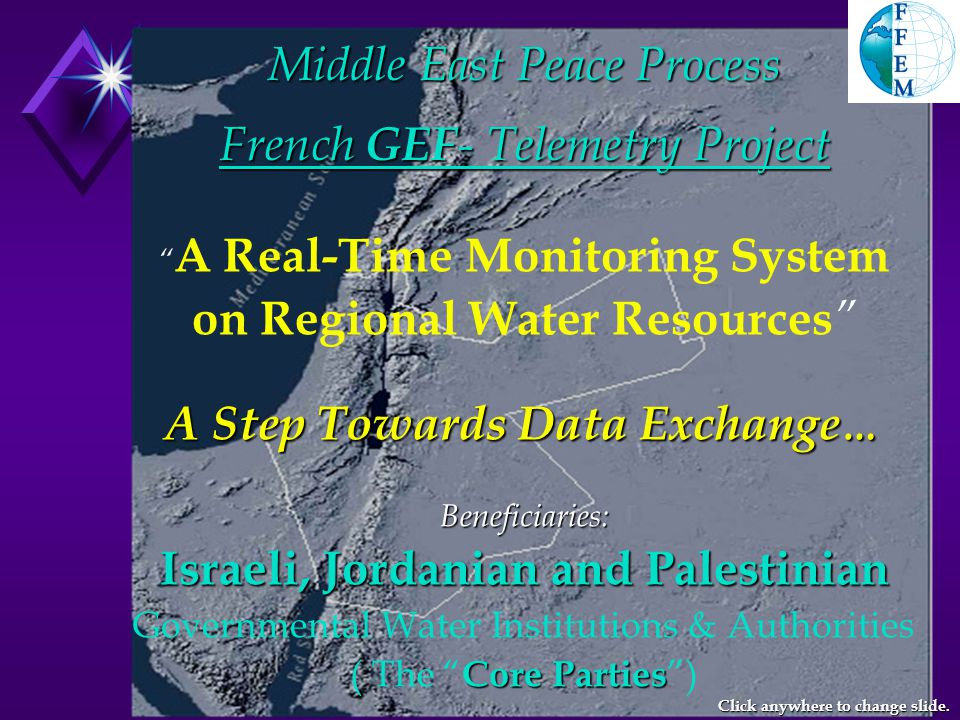 French GEF – Telemetry Project Training on Wadi Discharge Measurements in Nablus on 20 March 2001 Click anywhere to change slide.
