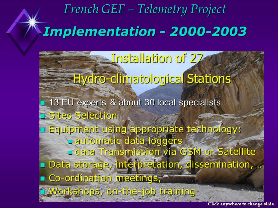 French GEF – Telemetry Project Selected Sites Click anywhere to change slide.