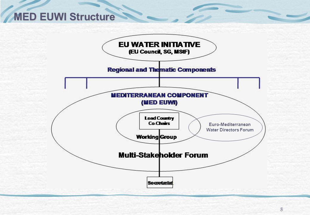 8 Euro-Mediterranean Water Directors Forum MED EUWI Structure