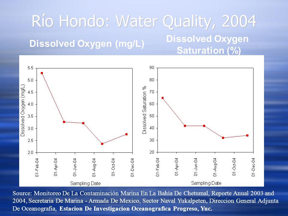 Dissolved Oxygen (mg/L) Dissolved Oxygen Saturation (%) Río Hondo: Water Quality, 2004 Source: Monitoreo De La Contaminación Marina En La Bahía De Che