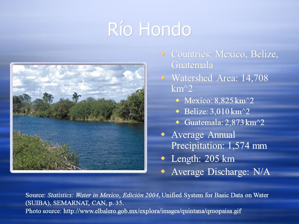 Río Hondo Countries: Mexico, Belize, Guatemala Watershed Area: 14,708 km^2 Mexico: 8,825 km^2 Belize: 3,010 km^2 Guatemala: 2,873 km^2 Average Annual Precipitation: 1,574 mm Length: 205 km Average Discharge: N/A Source: Statistics: Water in Mexico, Edición 2004, Unified System for Basic Data on Water (SUIBA), SEMARNAT, CAN, p.