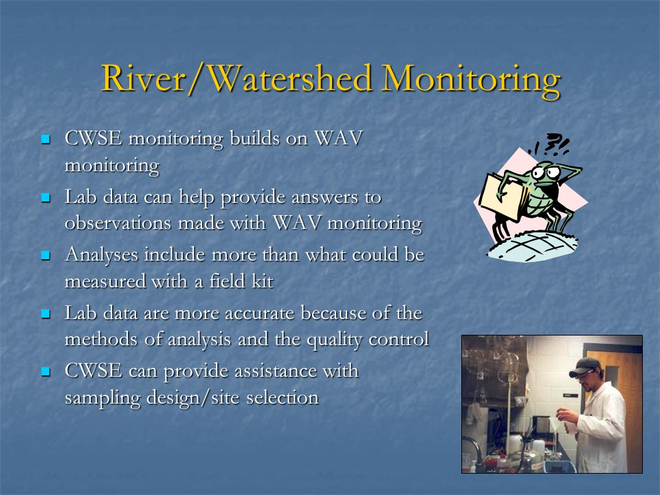 River/Watershed Monitoring CWSE monitoring builds on WAV monitoring CWSE monitoring builds on WAV monitoring Lab data can help provide answers to observations made with WAV monitoring Lab data can help provide answers to observations made with WAV monitoring Analyses include more than what could be measured with a field kit Analyses include more than what could be measured with a field kit Lab data are more accurate because of the methods of analysis and the quality control Lab data are more accurate because of the methods of analysis and the quality control CWSE can provide assistance with sampling design/site selection CWSE can provide assistance with sampling design/site selection
