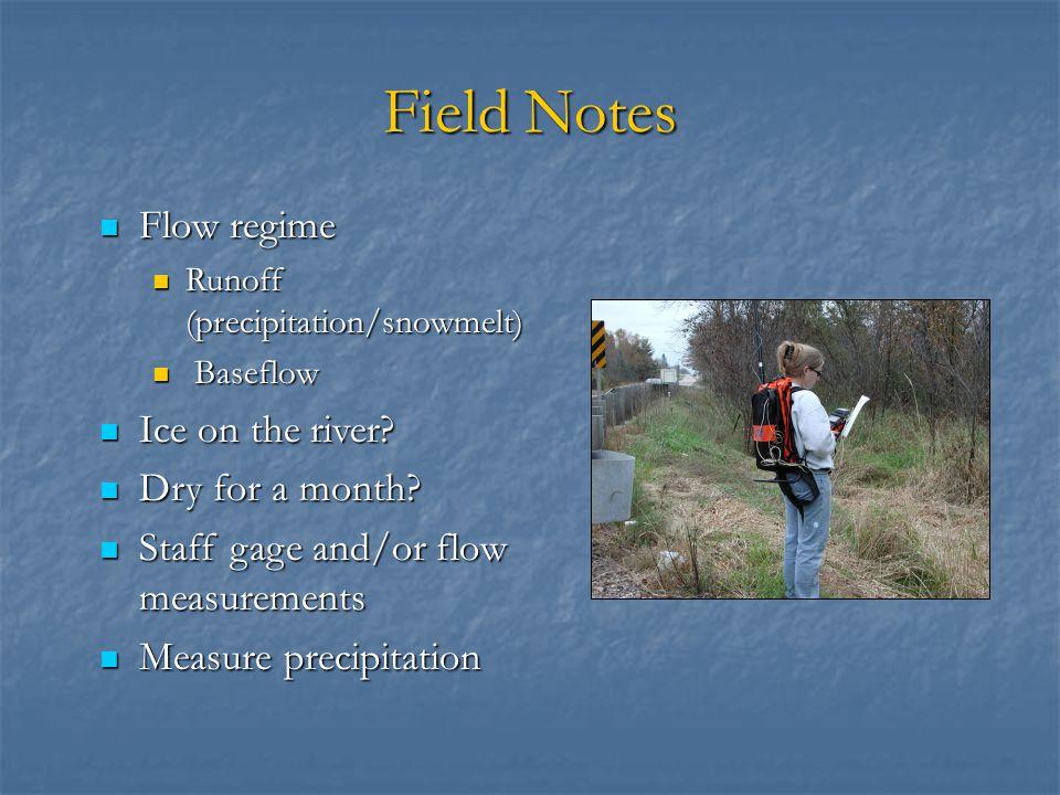 Field Notes Flow regime Flow regime Runoff (precipitation/snowmelt) Runoff (precipitation/snowmelt) Baseflow Baseflow Ice on the river.