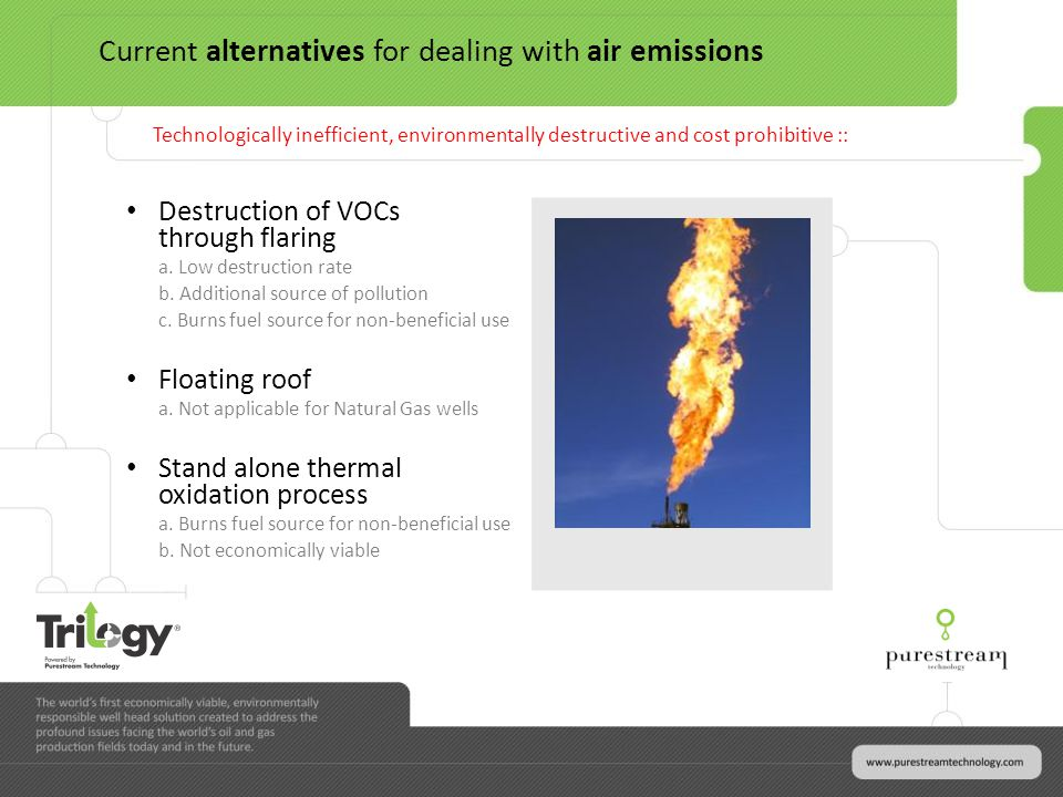 Destruction of VOCs through flaring a. Low destruction rate b.