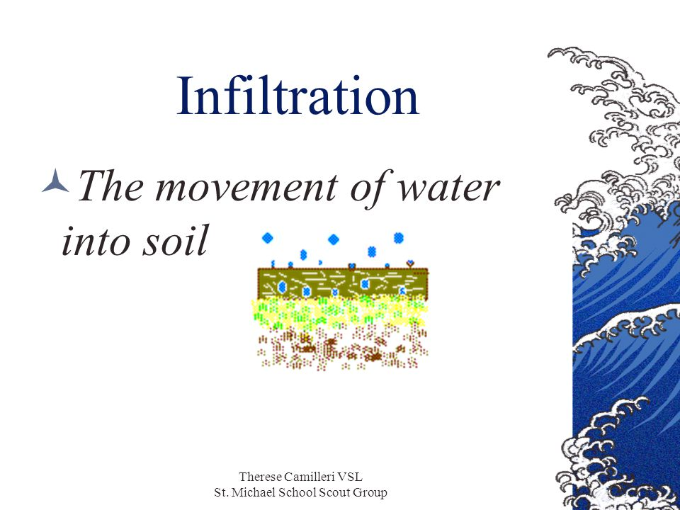 Therese Camilleri VSL St. Michael School Scout Group Infiltration The movement of water into soil
