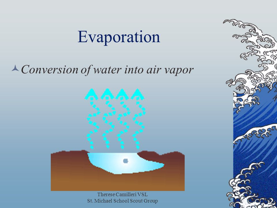 Therese Camilleri VSL St. Michael School Scout Group Evaporation Conversion of water into air vapor