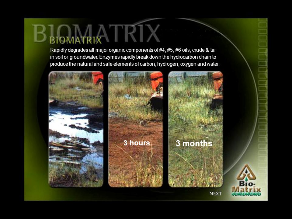 Rapidly degrades all major organic components of #4, #5, #6 oils, crude & tar in soil or groundwater.