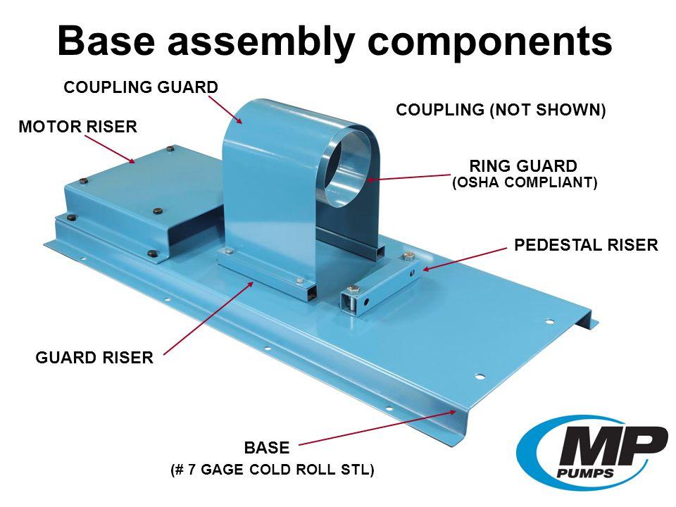 COUPLING GUARD BASE PEDESTAL RISER MOTOR RISER GUARD RISER COUPLING (NOT SHOWN) COUPLING GUARD RING GUARD (OSHA COMPLIANT) (# 7 GAGE COLD ROLL STL) Base assembly components