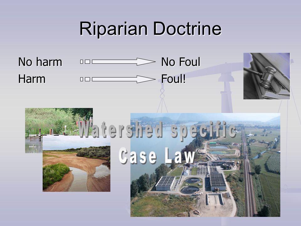 Riparian Doctrine No harm No Foul Harm Foul!